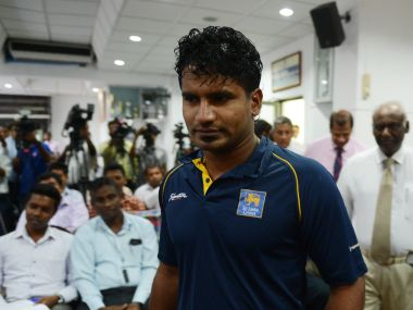 Kusal Perera arrives for a press conference. AFP