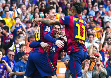 File photo of Neymar and Messi playing for Barcelona. Getty Images