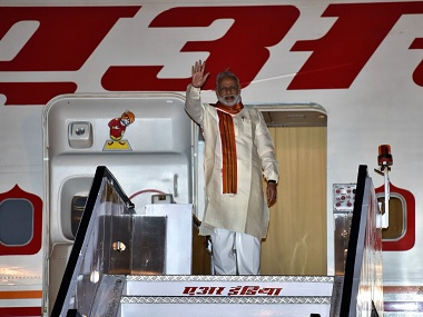 PM Modi boards the flight to Africa. Image: Twiter
