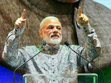 Prime Minister Narendra Modi addresses the Indian Community at Johannesburg, South Africa on 8 July. PTI