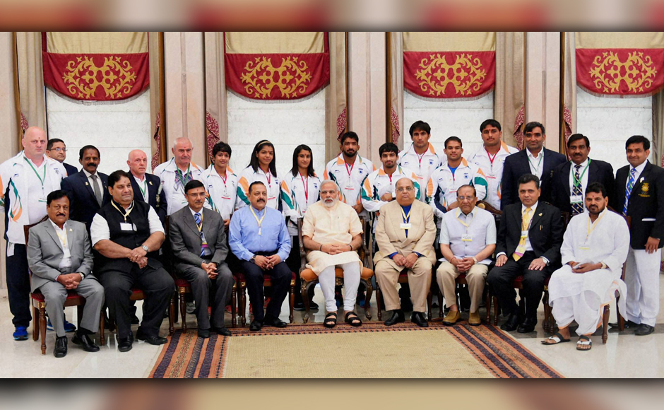 A number of Rio-bound athletes, including India's flag-bearer Abhinav Bindra, who will be participating in the Olympic Games in Rio de Janeiro, scheduled to begin on 5 August, in New Delhi on Monday received a warm send-off from Prime Minister Narendra Modi and Minister of State for Youth Affairs and Sports, Jitendra Singh. Photo: PTI