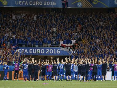Iceland players celebrate at the end of the game. Reuters