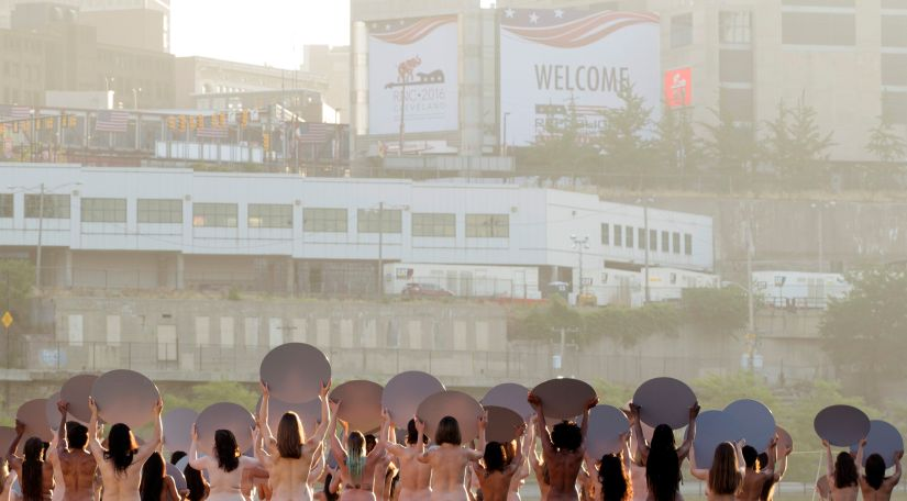 "Women pose nude for photographer Spencer Tunick's art installation ""Everything She Says Means Everything"" near the location of the Republican National Convention in Cleveland. Reuters"