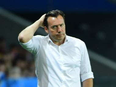 Marc Wilmots blamed a makeshift defence for Belgium's loss. AFP