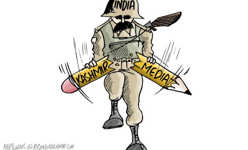 A cartoon carried by Rising Kashmir. Scrrengrab