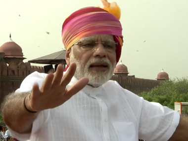 Prime Minister Narendra Modi delivers his speech on Independence Day. Screengrab from YouTube
