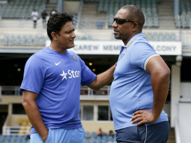 Anil Kumble (left) and Phil Simmons, coach of India and West Indies respectively. AP