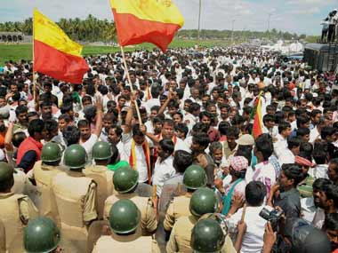 A file image of activists protesting over Cauvery river dispute in Chennai. PTI