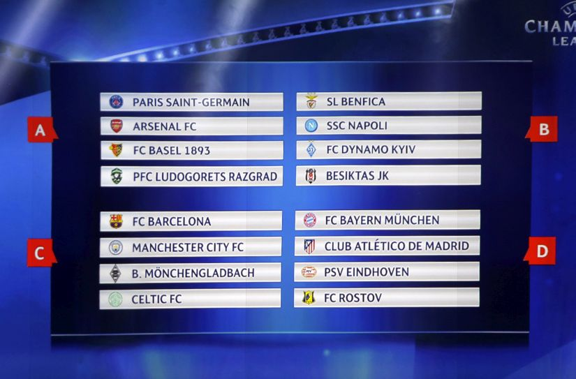 Fnal draw for the UEFA Champions League groups A,B,C,D,. AP