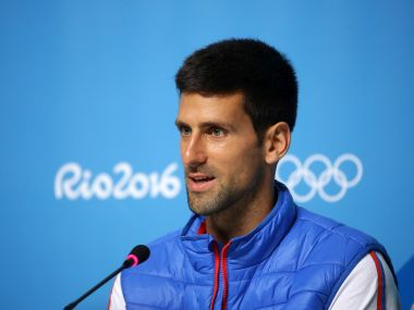 Novak Djokovic holds a press conference ahead of the Rio Olympics. Getty