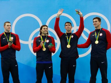 Gold medalists Ryan Murphy, Cody Miller, Michael Phelps and Nathan Adrian. Getty