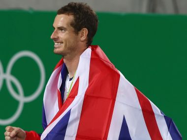 Gold medalist Andy Murray smiles following the men's singles. Getty