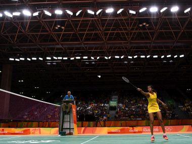 Pusarla V Sindhu plays a shot during the Women's Badminton Singles Semi-final against Nozomi Okuhara. Getty