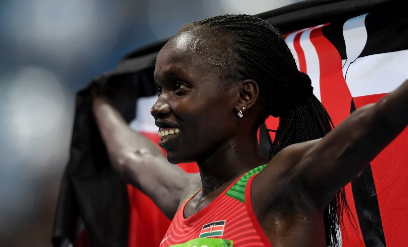 Vivian Jepkemoi Cheruiyot celebrates winning the Women's 5000m Final. Getty