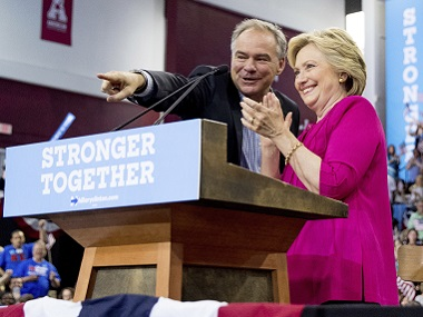 Democratic presidential candidate Hillary Clinton and Democratic vice presidential candidate, Sen. Tim Kaine, D-Va. AP