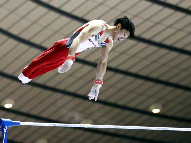 Japanese gymnast Kohei Uchimura in action. Getty