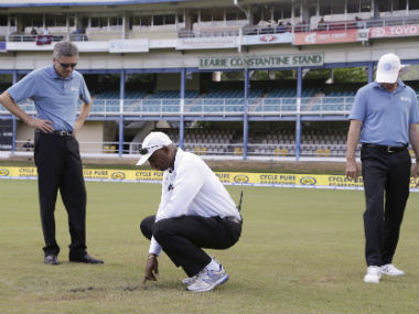 The match officials decided that the outfield was too wet for play to begin on Day 4. AP