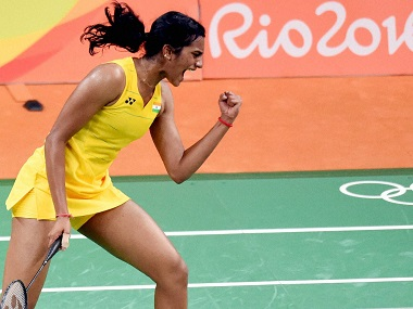 Rio de Janeiro: India's Sindhu Pusarla celebrate after defeating Japan's Nozomi Okuhara during a women's singles semifinal match at the 2016 Summer Olympics in Rio de Janeiro, Brazil, Thursday. PTI Photo by Atul Yadav(PTI8_18_2016_000376B)