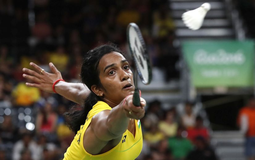 PV Sindhu at the Olympics. AP