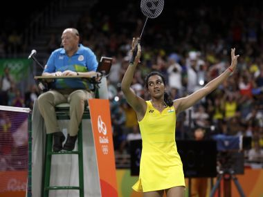 PV Sindhu's win in Rio Olympics Badminton semi-finals sparked celebrations in native Hyderabad. AP