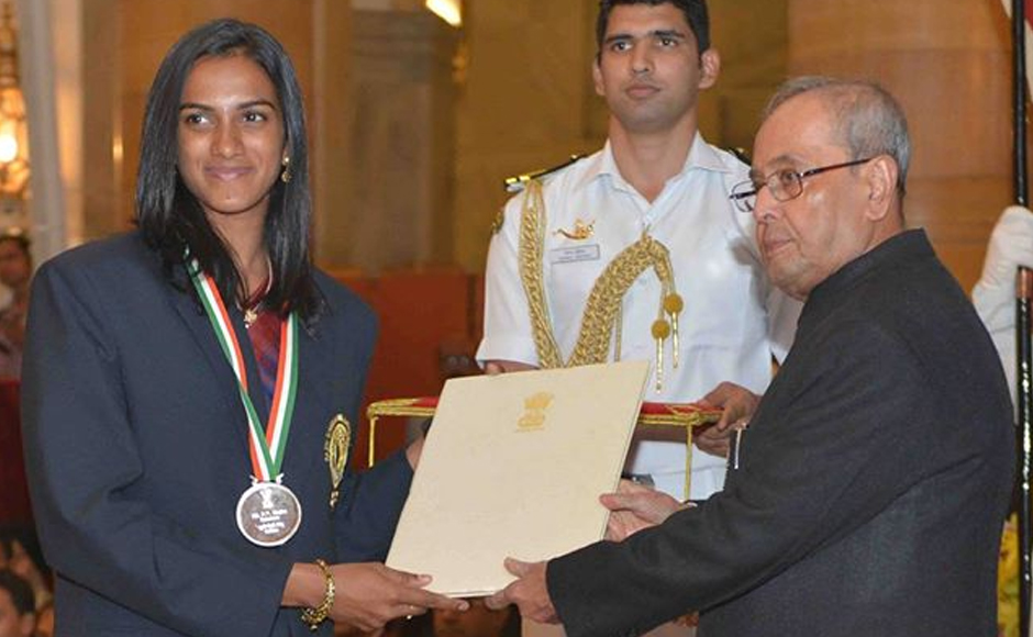 Shuttler PV Sindhu won a historic silver in the women's singles and was presented India's highest sporting honour. Image: PIB_India Twitter