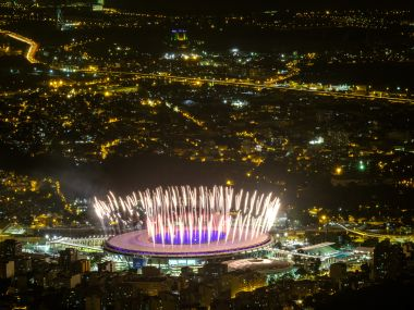 Fireworks are tested for the opening ceremony of the Rio 2016 Olympic Games at the Maracana stadium. AFP