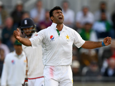 Sohail Khan celebrates the wicket of James Anderson after trapping him lbw. Getty Images