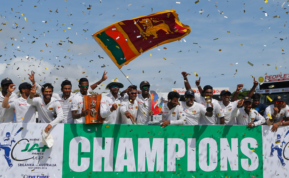 Sri Lanka clinched their first series whitewash over a major cricketing nation on Wednesday as they won the third and final Test against Australia by 163 runs. (Photo courtesy: AP)