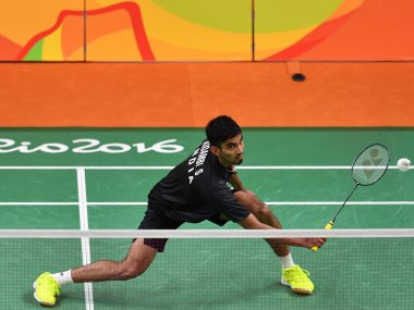 Srikanth in action in the men's singles quarter-final badminton match at the Rio 2016 Olympic Games. AFP
