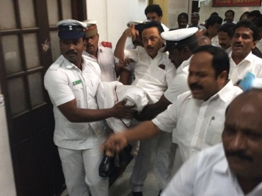 DMK leader MK Stalin being carried out of the Tamil Nadu Assembly. Photo courtesy: Twitter/ANI