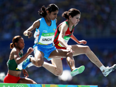 Sudha Singh (centre) competes in the Women's 3000m steeplechase event. Getty Images