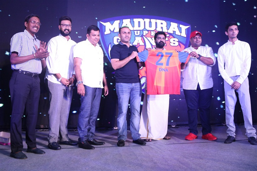 Virendar Sehwag, actor Simbu, music directors Anirudh and Thaman, and owner Dhyanidhi Alagiri unveil the Madurai Super Giants jersey