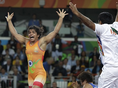 India's Sakshi Malik reacts after winning bronze medal against Kyrgyzstan's Aisuluu Tynybekova. AP