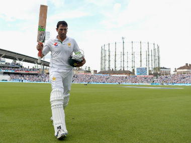 Younis Khan walks back after his dismissal for 218 on the third day of the fourth and final Test at the Oval. Getty Images