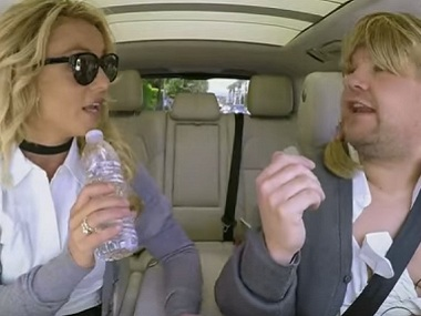 Britney Spears and James Corden. Image courtesy: Youtube