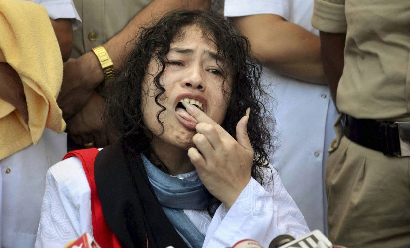 Activist Irom Sharmila breaking her fast on Tuesday. PTI