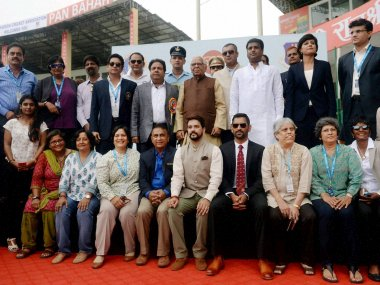 Former Indian Test cricket captains and other dignitaries on the occasion of India's 500th Test match against New Zealand. PTI
