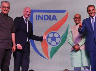 Fifa president Gianni Infantino unveiling the new AIFF logo. Twitter/ Indian Football