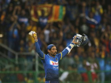 Tillakaratne Dilshan acknowledges the crowd after playing his last match. AP