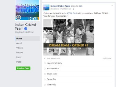 A screenshot of the dream Team poll on Indian Cricket Team's Facebook page.