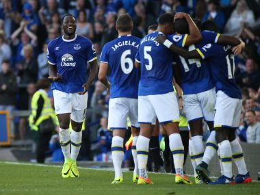 Everton celebrate after scoring against Middlesbrough in the PL. Reuters