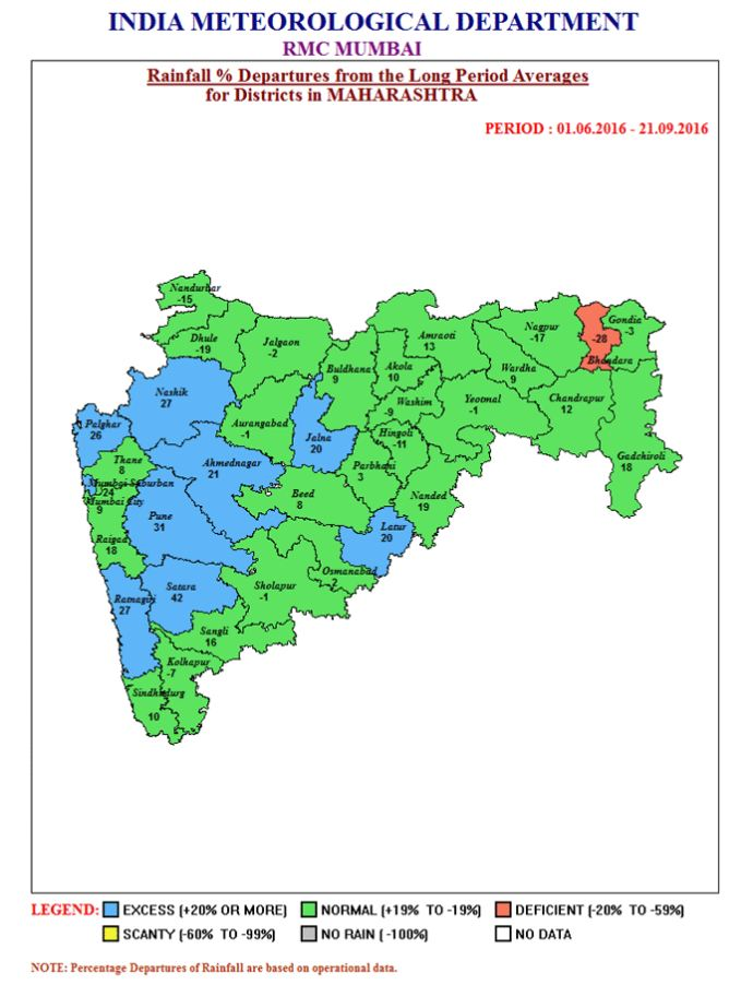 Rainfall data from 1 June to 21 September. Image: IMD website