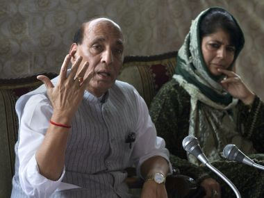 Home Minister Rajnath Singh with J&K Chief Minister Mehbooba Mufti. File photo. AP