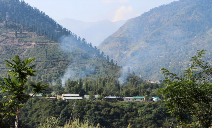 Plumes of smoke from the army camp. Firstpost/Sameer Yasir