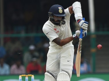 India's Murali Vijay plays a shot during the first day  of the first Test against New Zealand. AFP