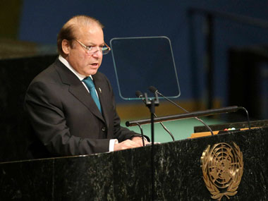 Pakistani PM Nawaz Sharif speaks during the 71st session of the United Nations General Assembly at UN. PTI