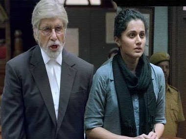 Amitabh Bachchan and Taapsee Pannu in 'Pink'. Screengrab from YouTube