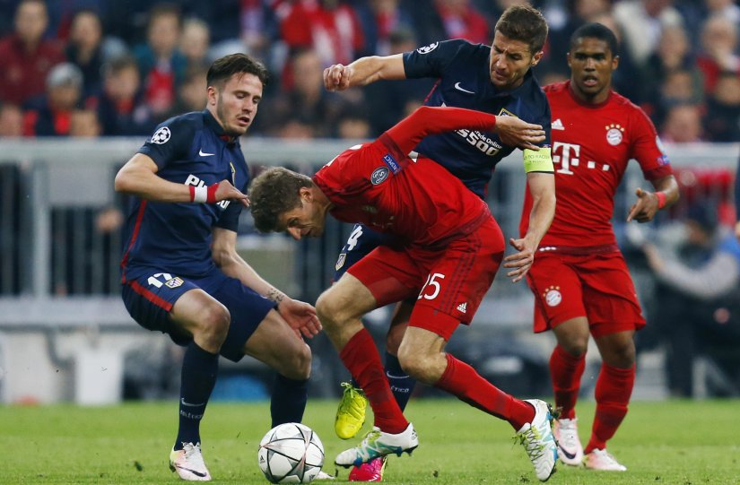 Atletico Madrid players in action against Bayern Munich in the Champions League semi-final. Reuters