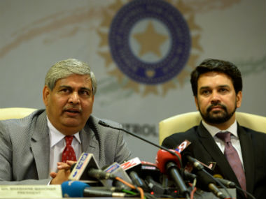 Shashank Manohar and Anurag Thakur (right), head of ICC and BCCI respectively. AFP