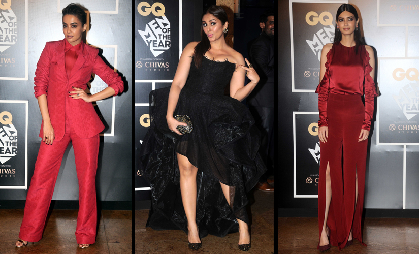 Surveen Chawla, Huma Qureshi and Diana Penty choose bold colours for their outing/ Firstpost image/ Sachin Gokhale